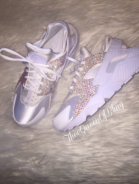 Triple white nike huarache with crystals Custom huaraches  ae811ce99