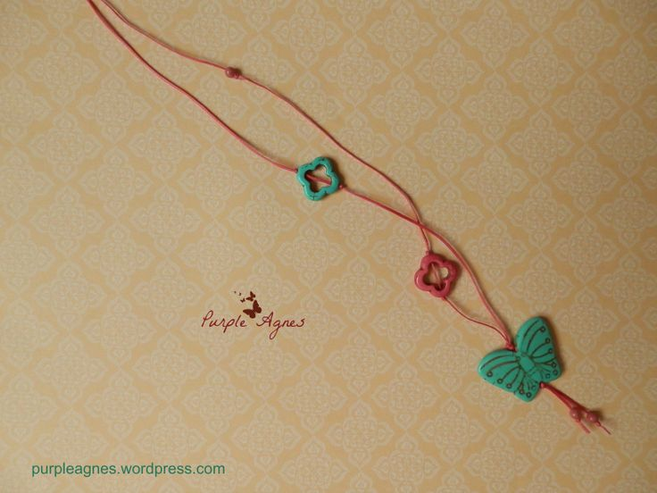 Bohemian Jewelry, Butterfly Pendant, with Little Flowers Accessories, Pastel Colors