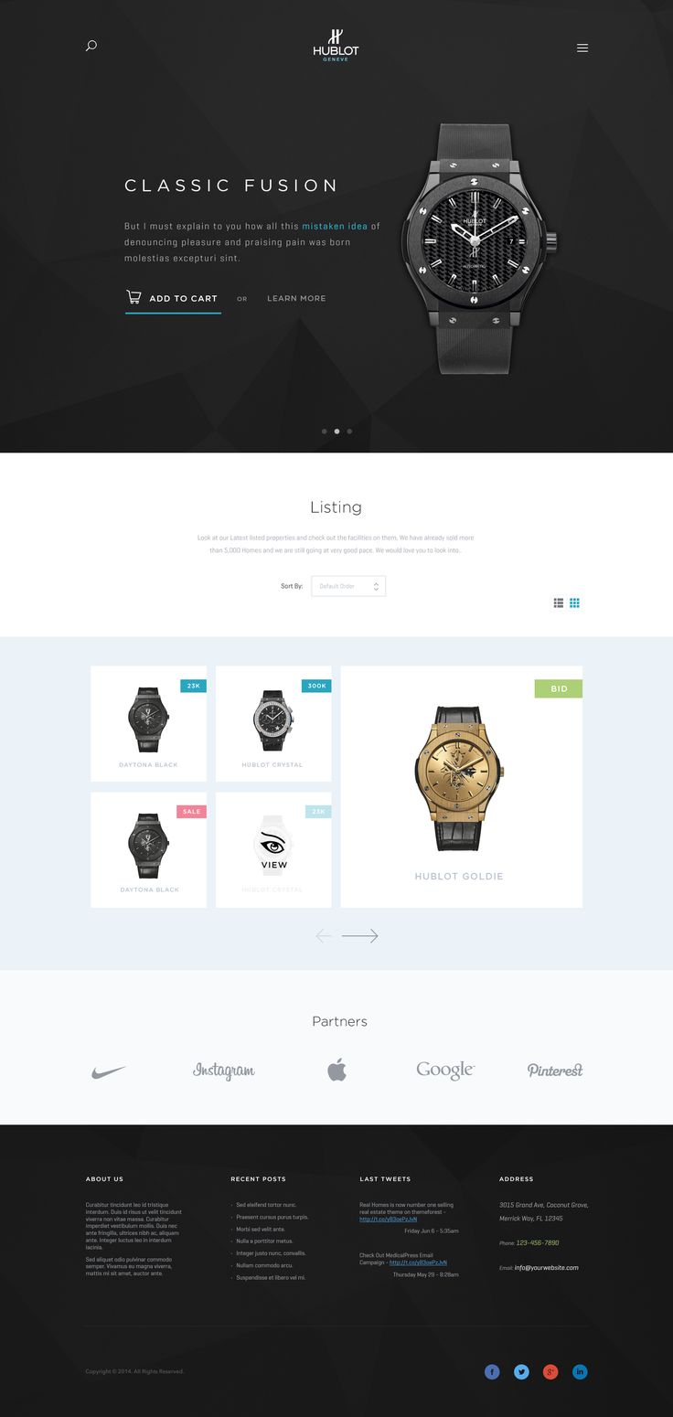 Hublot Landingpage E-commerce (Fullpixels)