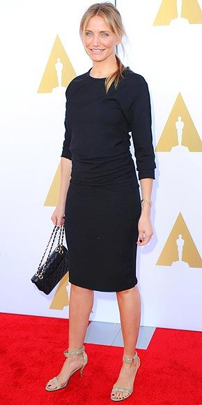 CAMERON DIAZ Cameron is starting to rival Jennifer Aniston for the title of Queen of the LBD! She steps out in another classic number (accentuated with a pony and chain-strap bag) for the Hollywood Costume Luncheon in L.A.