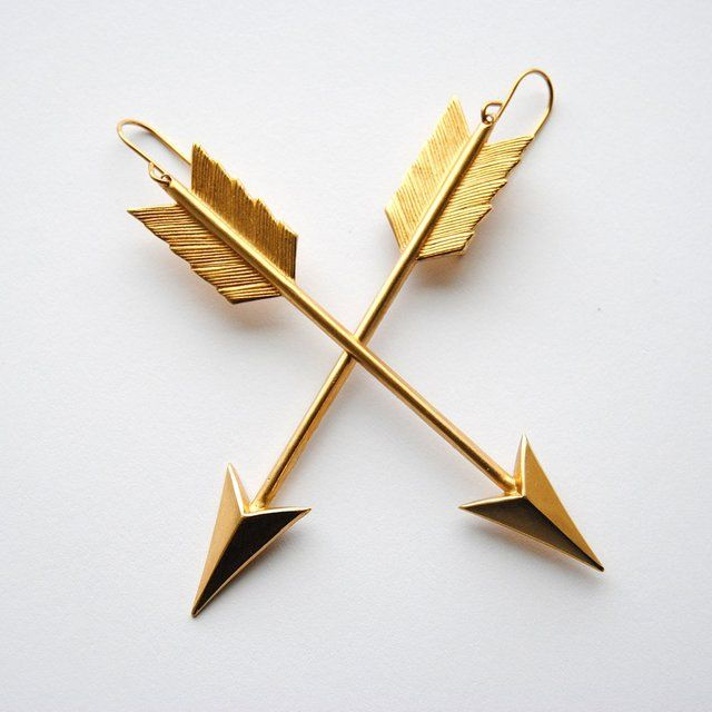 "Arrow Earings !  These stunning statement earrings feature our stylish arrow charms in vermeil on 14k gold-filled ear wires    Each piece is lovingly handcrafted in New York city from the very finest materials    1.75"" high    0.25"" wide    1.75"" long"