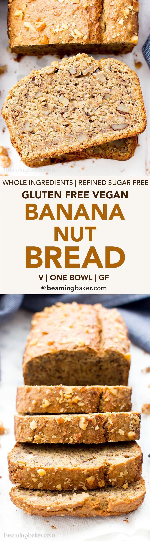 One Bowl Vegan Gluten Free Banana Nut Bread (V, GF, DF): an easy recipe for perfectly moist banana bread packed with walnuts and bursting with banana flavor! #Vegan #GlutenFree #OatFlour #DairyFree | http://BeamingBaker.com