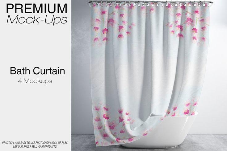 Bath Curtain Mockups Mockup Design Design Mockup