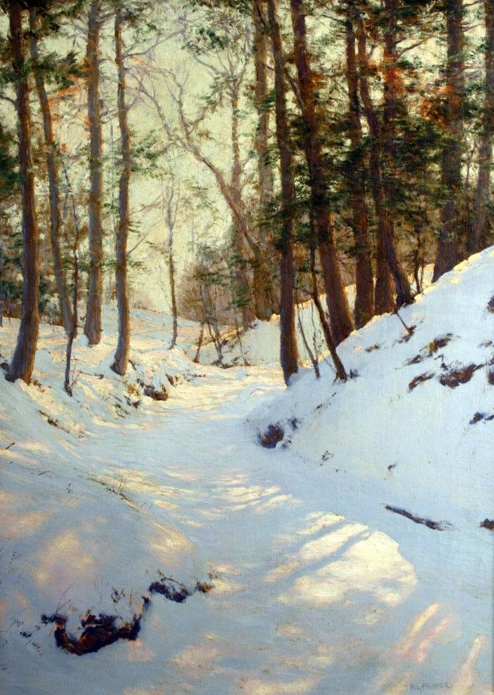 Walter Launt Palmer (1854 - 1932) Winter Shadows oil on canvas 29 X 21 inches signed lower right corner