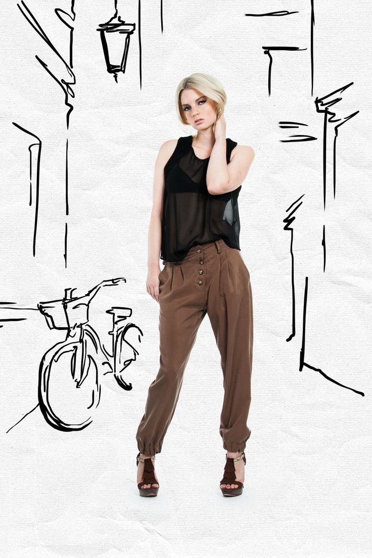 JAC Spring 2013. Contrast these soft, tailored pants with a geometrical patterned top and a structured jacket.