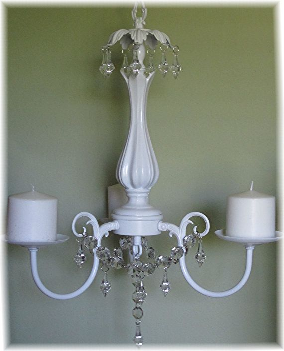 Hanging Chandelier Candle Holder Oak 3 Arm Satin White With Clear Glass Votives Pillar Or Tapered Candles Outdoor Indoor