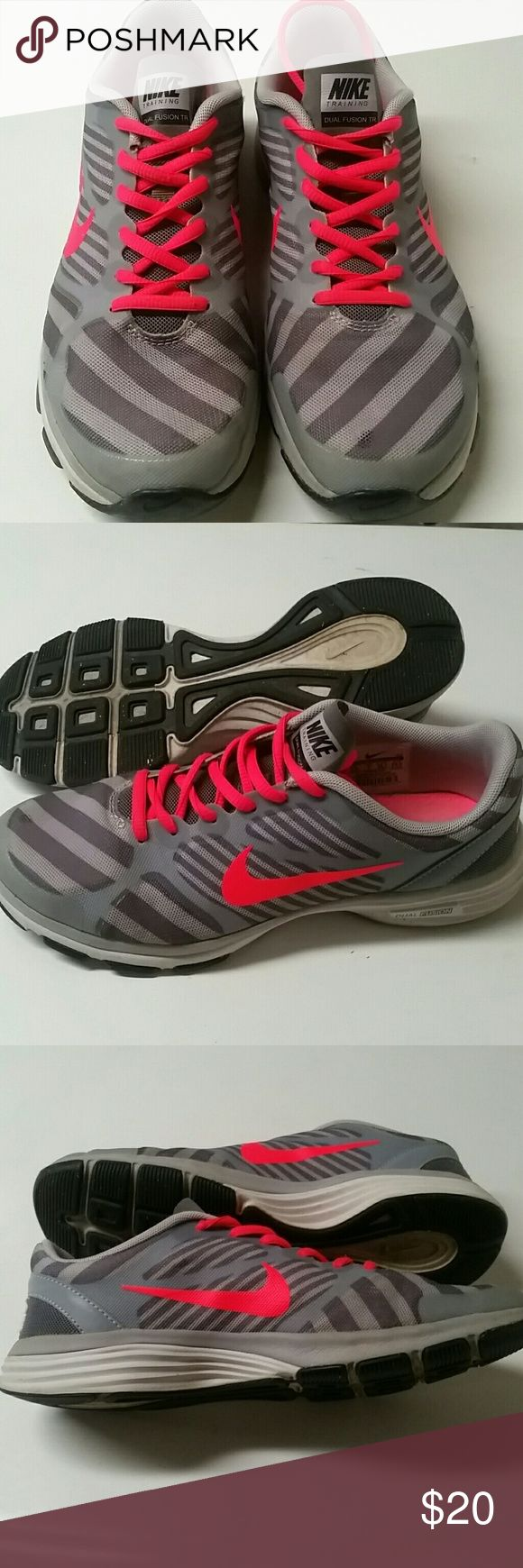 Nike Dual Fusion TR US 7.5 EUR 38.5 CM 24.5 Grey & neon pink 7.5 Nike Dual Fusion TR EUR 38.5 CM 24.5 Nike Shoes
