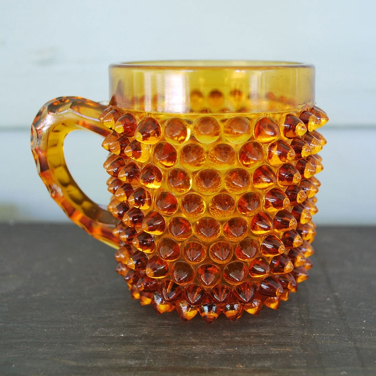 Orange Hobnail Glass Cup