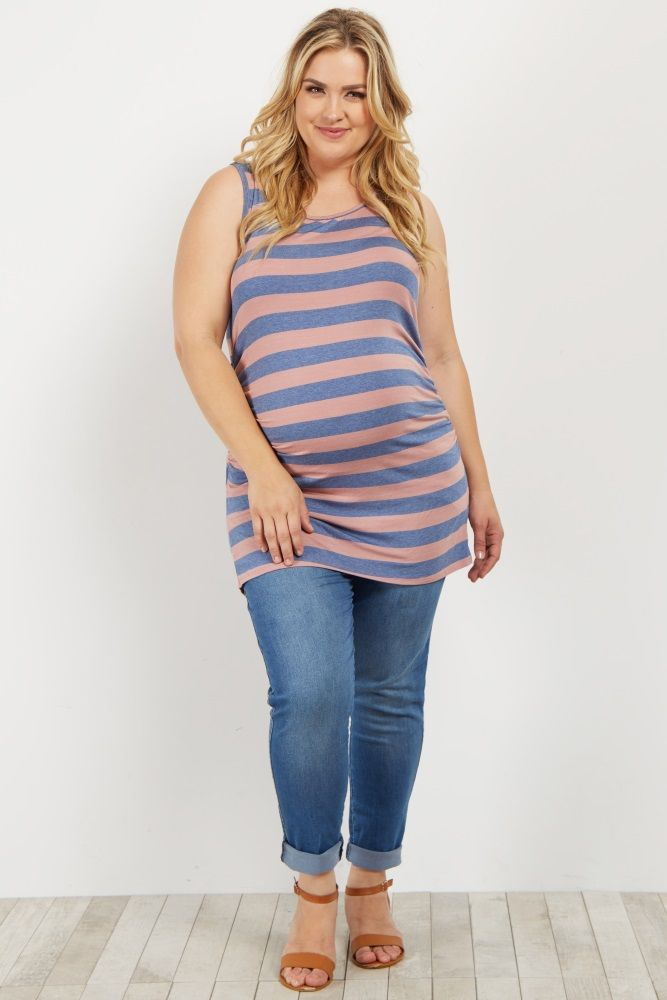 b6333d687931d Purple Striped Fitted Plus Maternity Tank Top   My Style plus size ...