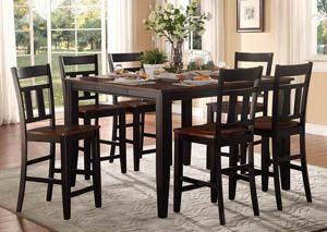 Westport Black/Cherry Counter Height Table Set w/4 Counter Height Chairs