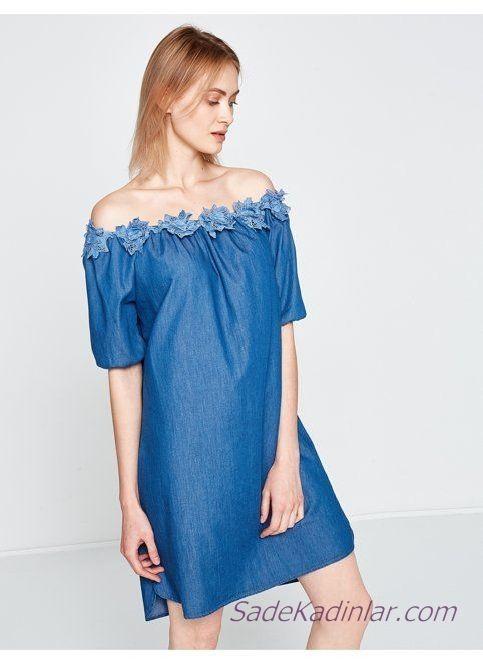 e1a0164b5167b Koton Elbise Modelleri Lacivert Kısa Omzu Açık Düşük Kol Yakası Gül İşlemeli