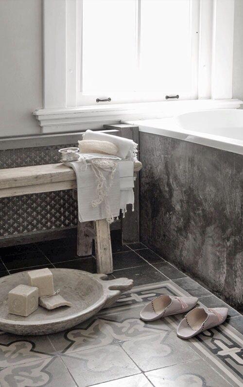 ☆Concrete grey bath + patterned floor | = bath