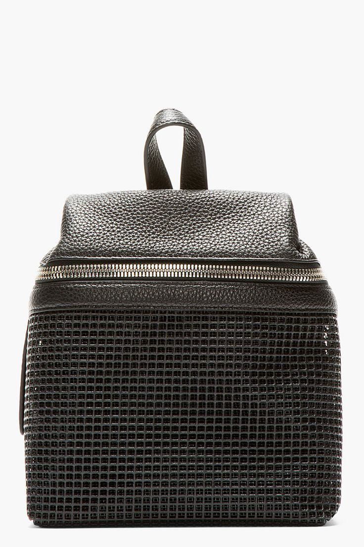 { Kara Black Pebbled Leather And Doubled Mesh Small Backpack }