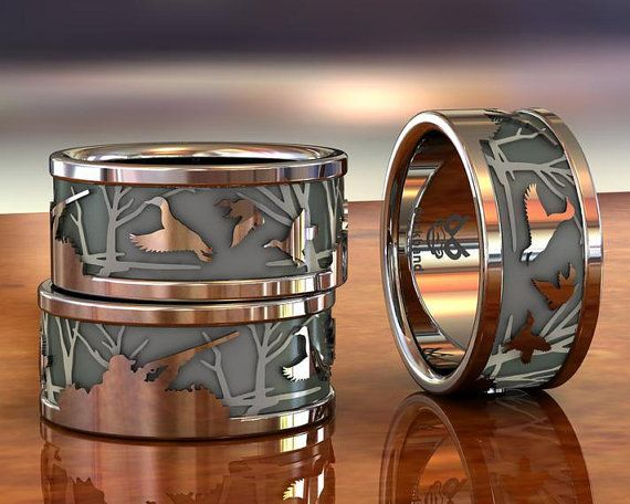 Hunter And Ducks Etsy In 2020 Hunting Wedding Rings Duck Band Wedding Ring Hunting Wedding Bands