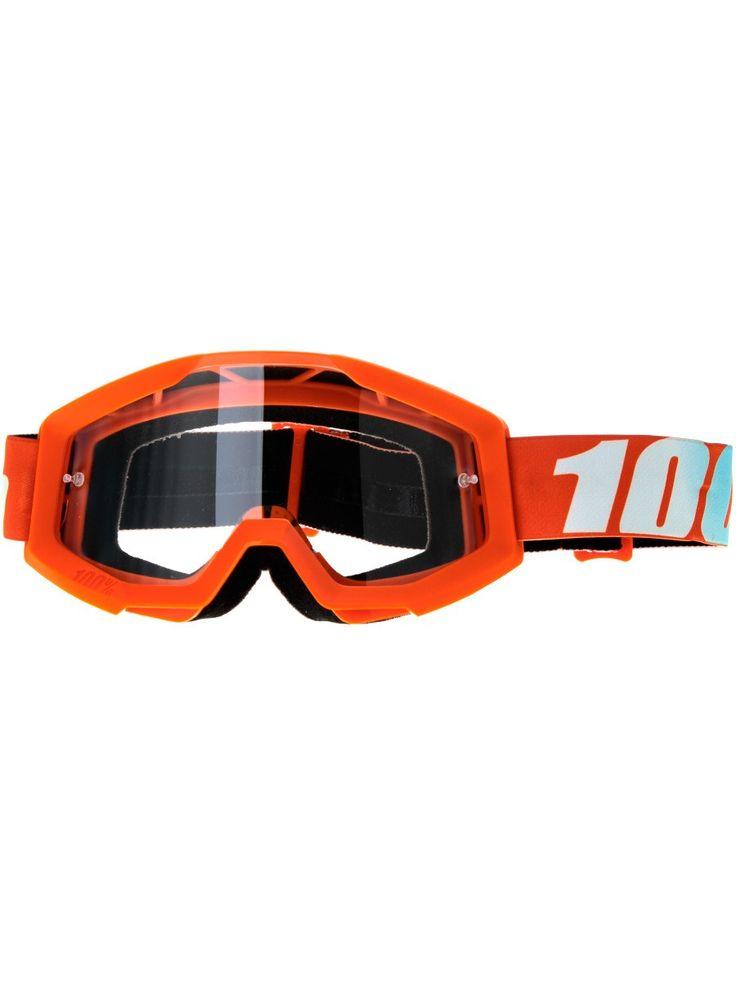 100 Percent Oransje-Clear Lens Strata - Anti Fog Clear Lens MX-Briller