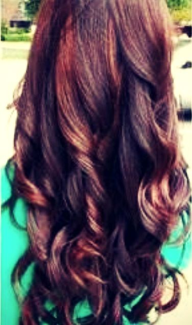 Dark Brown Hair With Red Highlights And A Red Gloss