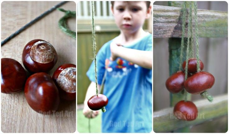 """Try your hand at this TRADITIONAL British Classic Game: """"Conkers"""". A super simple and fun activity for the kids this Fall."""