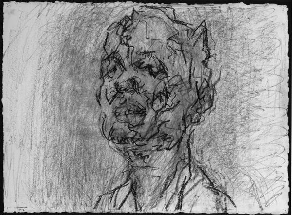 Frank Auerbach_Self-Portrait 2012 graphite and chalk on paper