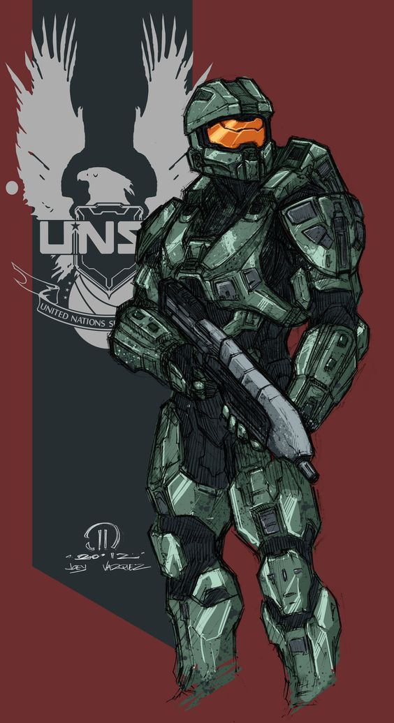 another really quick coloring job on a sketch i did of the new master chief halo 4 is probably one of the most amazing games ever i know many of you m