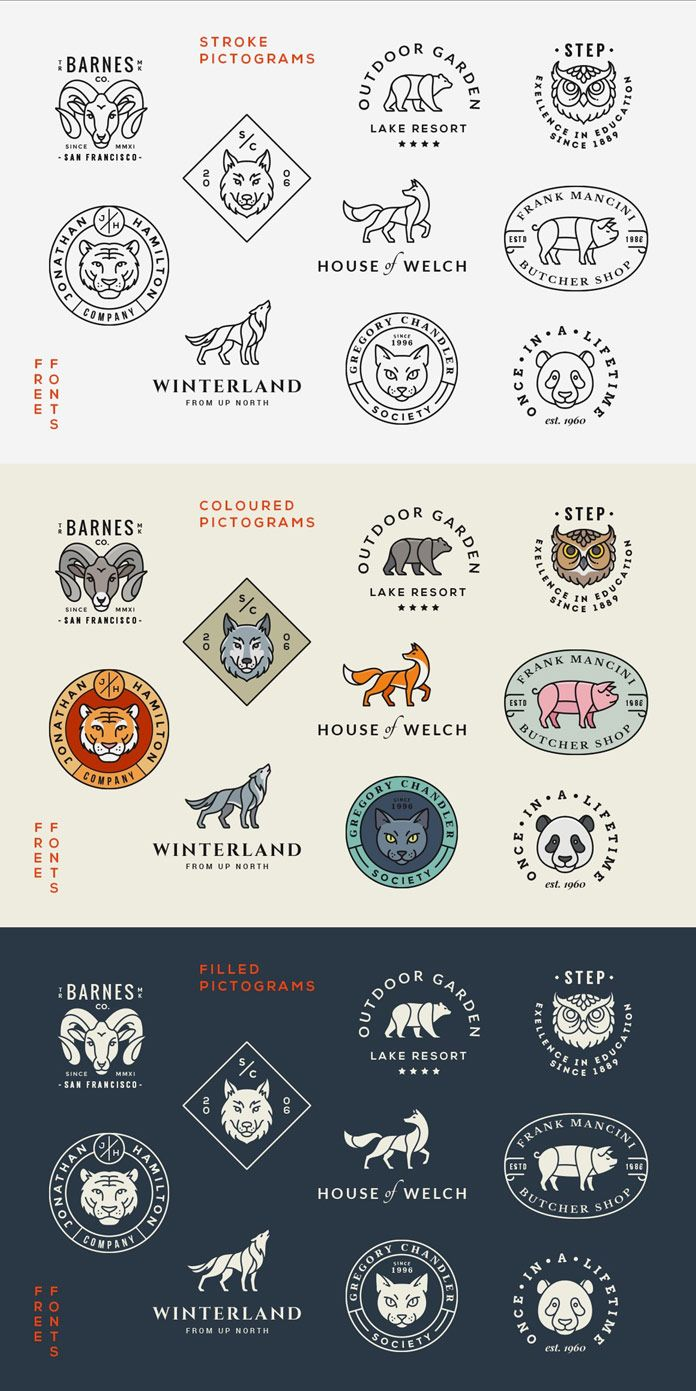 Animal logos/badges - stroke, colored, and filled pictograms.