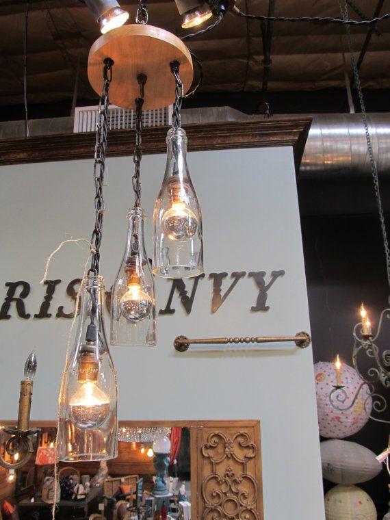 3 light wine bottle pendant fixture bottle pendants and wine bottles - Wine bottle light fixture chandelier ...
