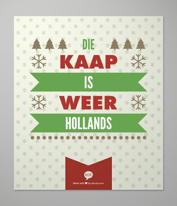 Die Kaap is weer Hollands
