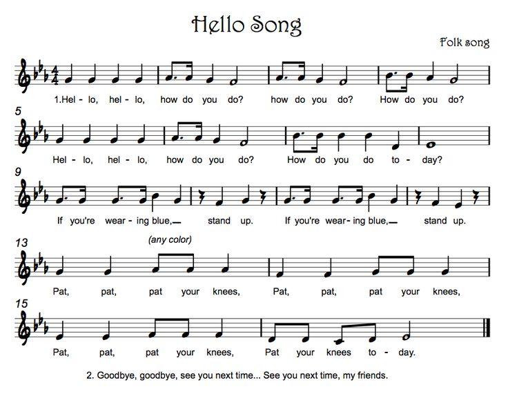Beths Music Notes: Hello Songs Hallo  hoe gaat het liedje. Kleuren herkennen