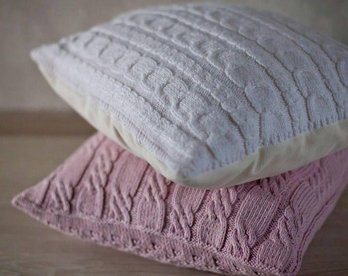 Kabel handgestrickte Kissen Wolle Abdeckung  Milch weiße
