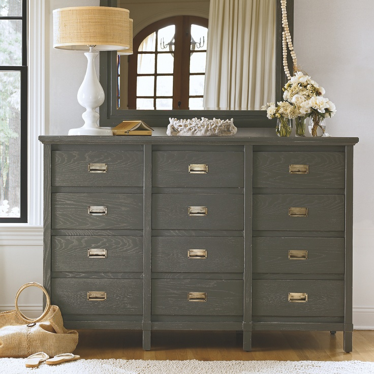 Love the distressed finish and drawer pulls on this dresser.