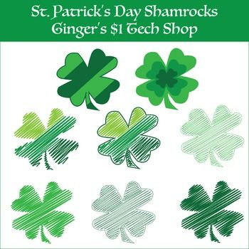 St. Patty's Day Shamrock Clipart * Doodles * Four-leaf Clovers!