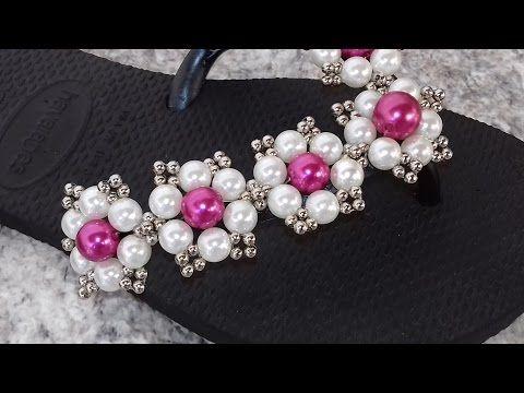 como fazer: chinelo flores de perolas (JANE DIAS) - YouTube