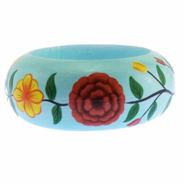 Baby Blue Wood Bracelet with Painted Flowers