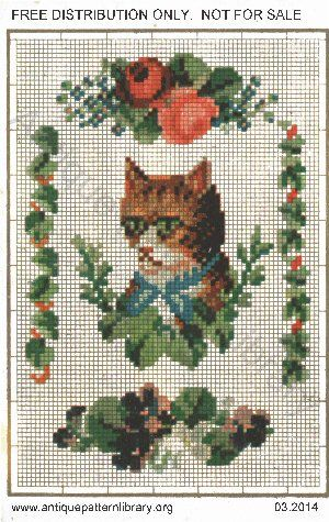 German leporello, no title, no publisher, antique pattern library. The original (apparently) grumpy cat and flowers. http://www.antiquepatternlibrary.org/html/warm/B-YS042.htm