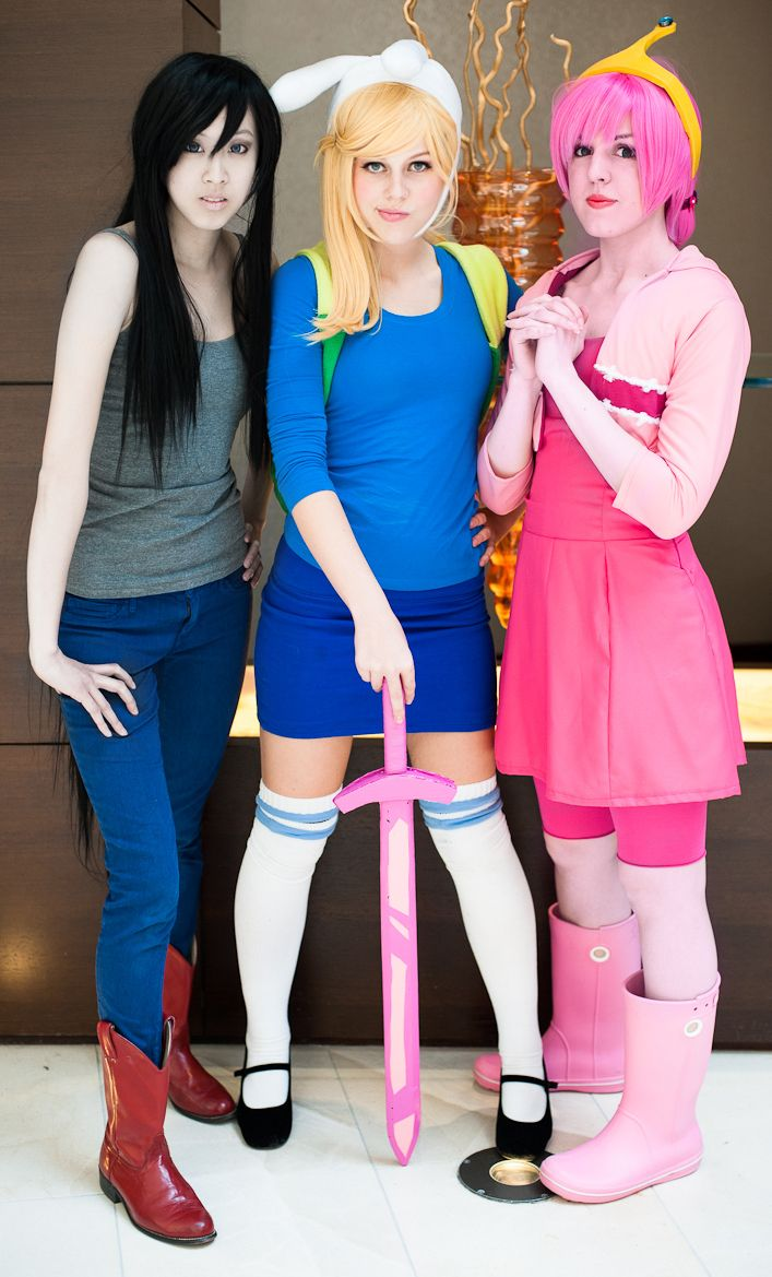 """rule63rules: """" [Image: Three cosplayers dressed as Marceline, Fionna, and Princess Bubblegum from Adventure Time. Fionna is…"""