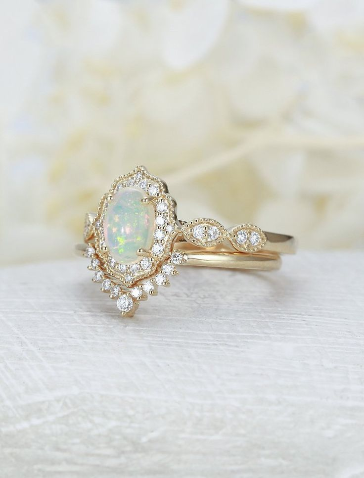 Opal engagement ring women yellow gold diamond vintage engagement ring oval cut bridal set unique curved wedding Anniversary gift for her – Wedding