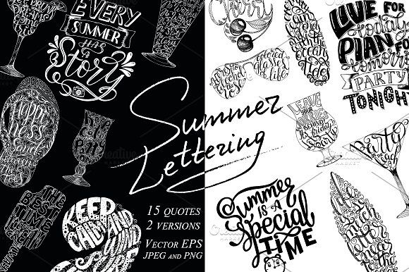 Summer Lettering Quotes by Artlana on @creativemarket