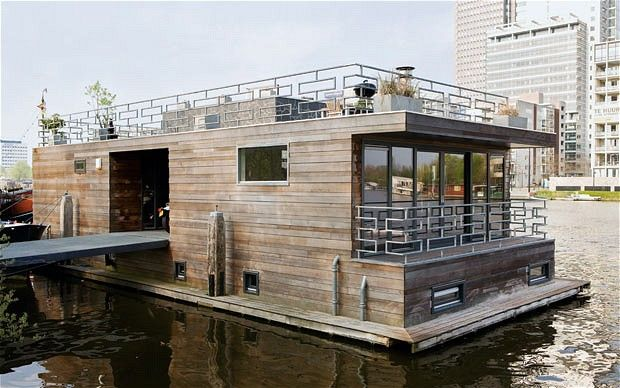 Modern charm: the couple's contemporary houseboat