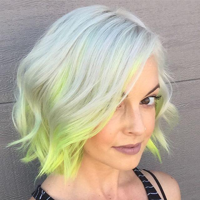 Fun neon yellow dip dyed hair ends! Cute bob/ lob