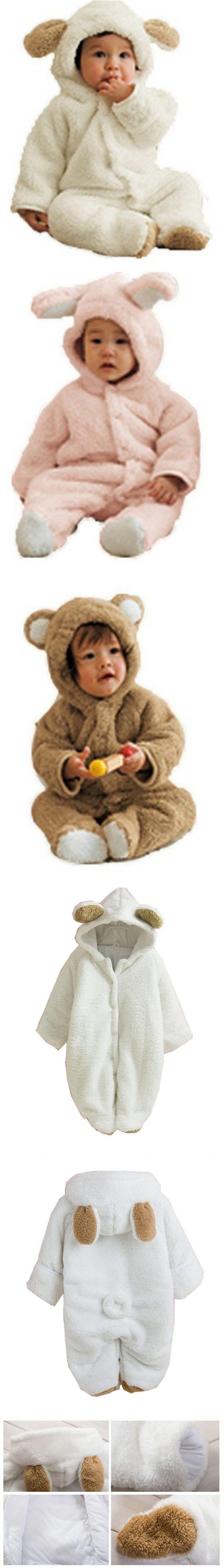 Unisex Baby Winter Cute Animal Bear Bunny Sheep Thicken Fluffy Snowsuit Newborn Baby Rompers Baby Costume $24.99