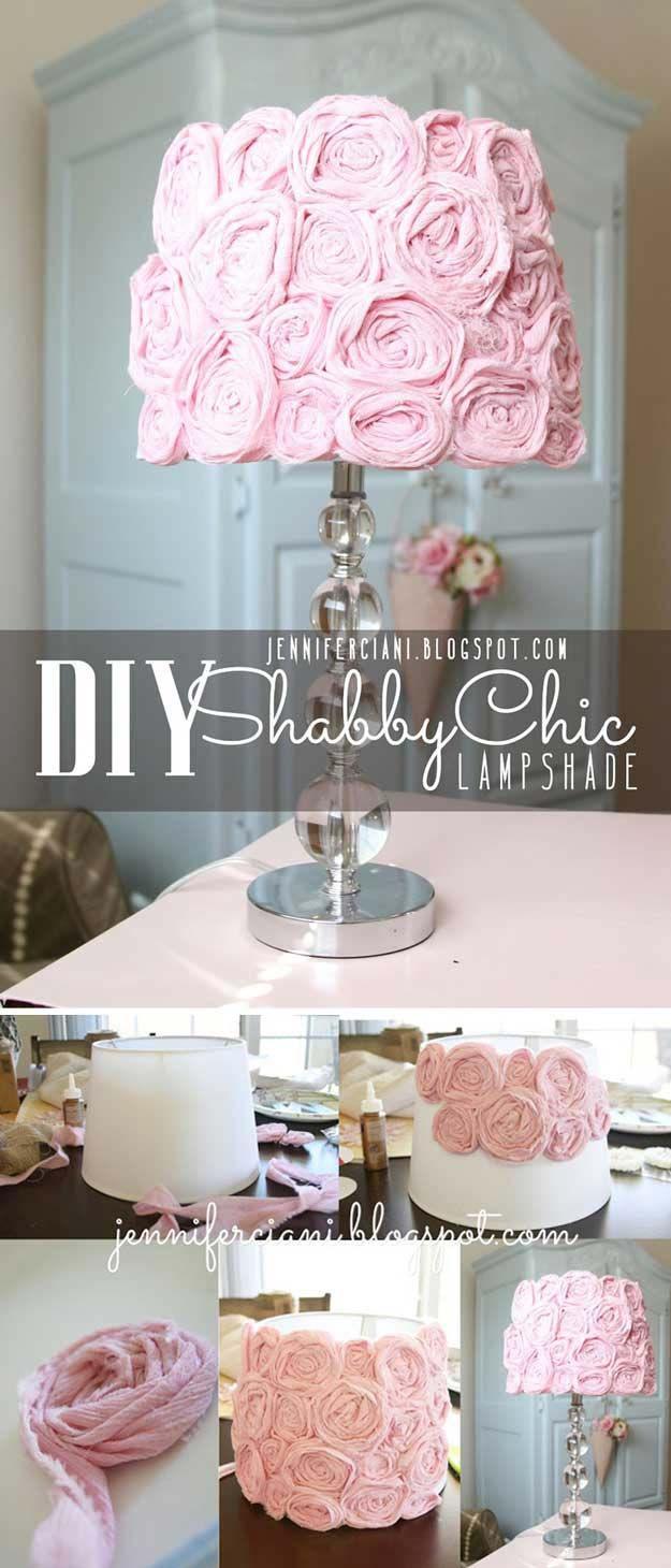 Rosa DIY Room Decor Idéer - DIY Shabby Chic Lampskärm - Cool rosa sovrum hantverk och projekt för tonåringar, flickor, ungdomar och vuxna - Bästa Wall Art Idéer, rum utsmyckning projekt Tutorials, mattor, belysning och lampor, Säng dekor och kuddar http: / /diyprojectsforteens.com/diy-bedroom-ideas-pink