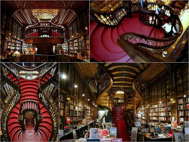 Lello Bookshop, Porto, Portugal. This Art Nouveau store opened in 1906 and remains one of the most beautiful bookshops in the world. Stunning detail from the carved ceilings to the stained glass atrium to the  showpiece red flowing staircase. JK Rowling taught in Porto for years; is it any wonder that Hogwarts has a similar-styled staircase?