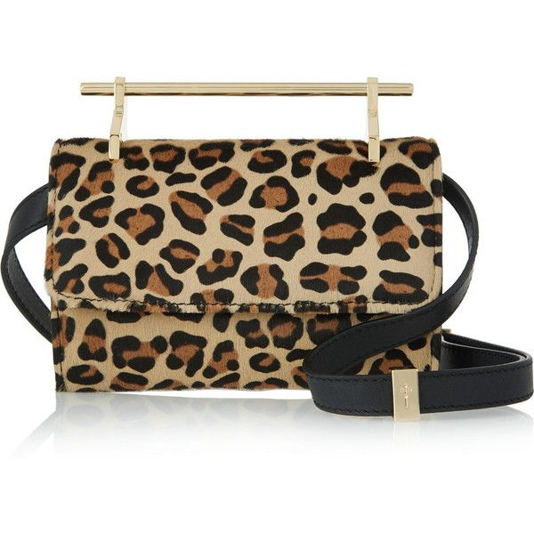 M2Malletier Fabricca mini leopard-print calf hair shoulder bag ($1,295) ❤ liked on Polyvore featuring bags, handbags, shoulder bags, leopard print, leopard handbag, leopard purse, mini backpack purse and cell phone purse