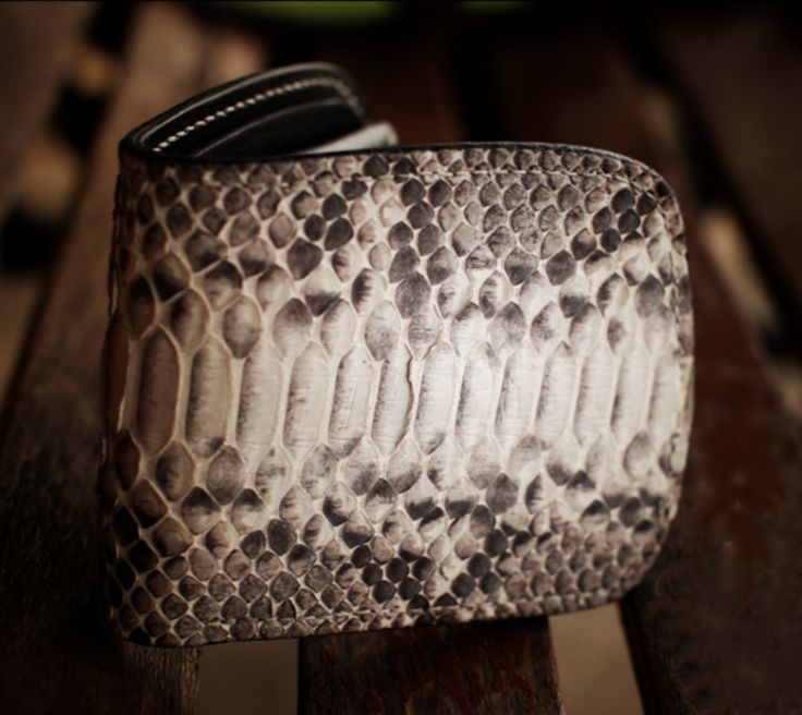Handmade Snakeskin & Leather Bifold Wallet