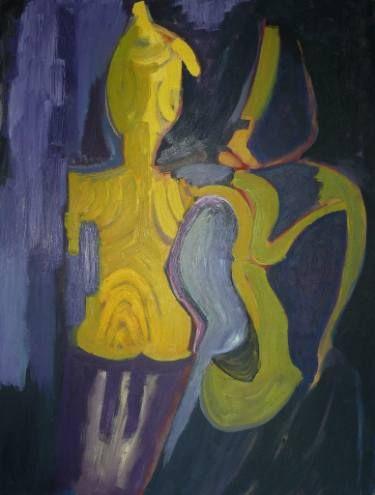"""Saatchi Art Artist Elisabeta Vlad; Painting, """"Yellow tribal sculptures . Lovers"""" #art"""