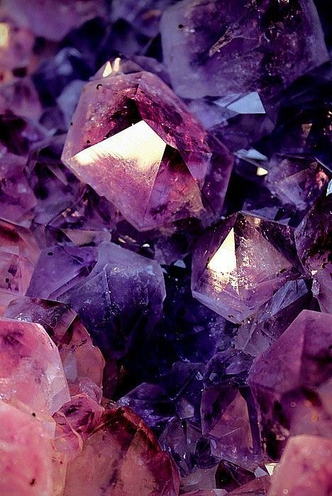 Crystals in aubergine hues    Stephanie Corder via Rosalinda Garcia onto ALL kinds of PURPLE with Black, Gold and a little Blue Green too!
