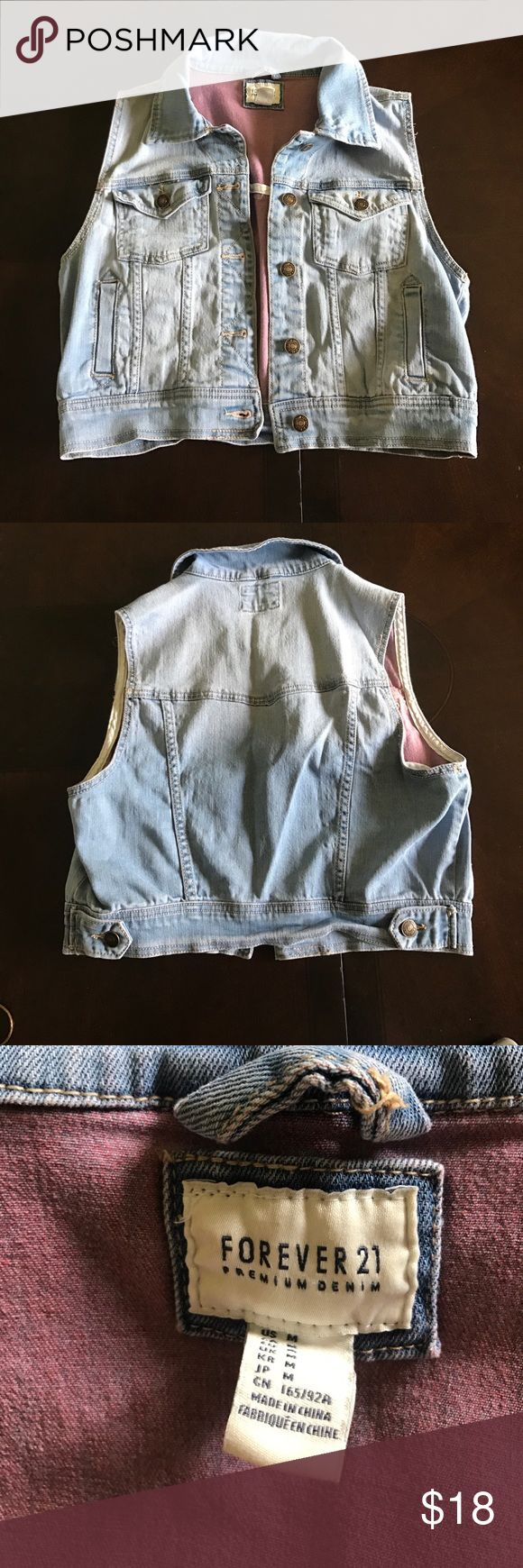 Forever 21 Jean Jacket Sleeveless Jean Jacket Worn maybe once. Super cute with summer dress or outfit. This jacket could also been worn year-round with a long sleeve during cold months!Due to high shipping cost this would be a great item to bundle with other items in my closet! Forever 21 Jackets & Coats Jean Jackets