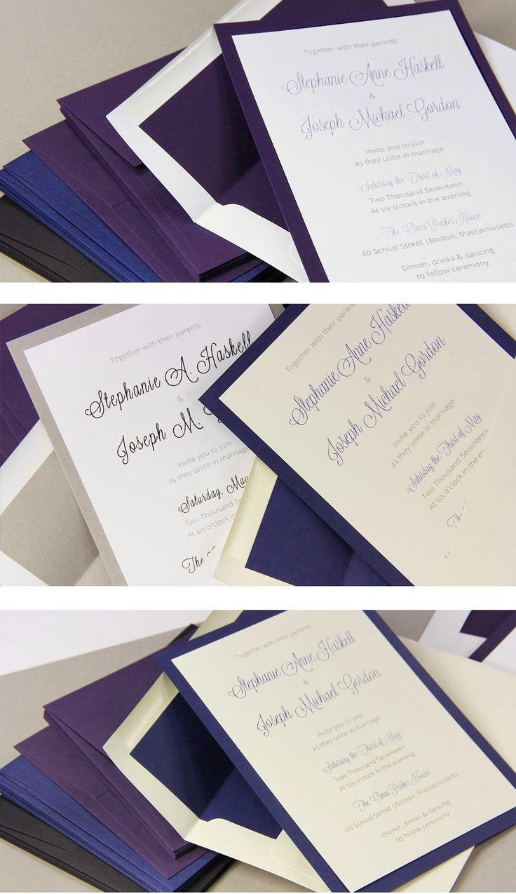Microsoft Word template and step by step instructions to make your own layered wedding invitations with matching lined envelopes