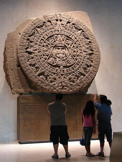 The Aztec Calendar Stone, Mexica Sun Stone, Stone of the Sun (Spanish: Piedra del Sol), or Stone of the Five Eras, is a large monolithic sculpture that was excavated in the Zócalo, the main square of Mexico City, on December 17, 1790. It was discovered while Mexico City Cathedral was being repaired. The stone is approximately 12 feet (3.7 m) across and weighs approximately 24 tons.