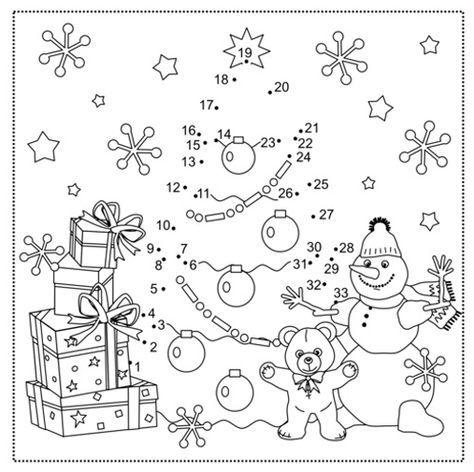 ausmalbild malen nach zahlen: malen nach zahlen: weihnachtsbaum kostenlos ausdrucken