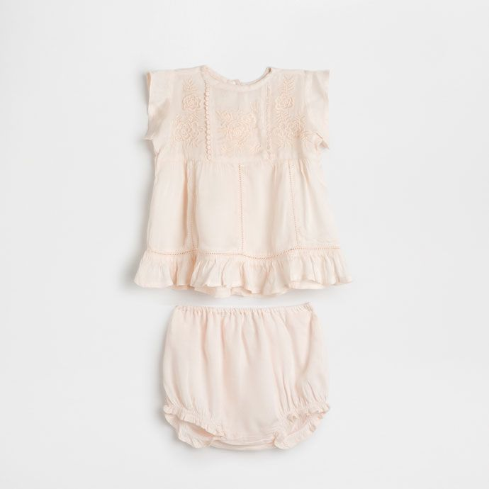 Комплект для младенцев с вышивкой персикового цвета - Просмотреть все - Для новорожденных - Домашняя одежда | Zara Home Россия / Russia